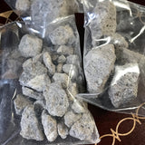 6Witch3 Benzoin of Sumatra resin photographed in plastic bags very closely so you can see how much it looks like tiny concrete chunks.