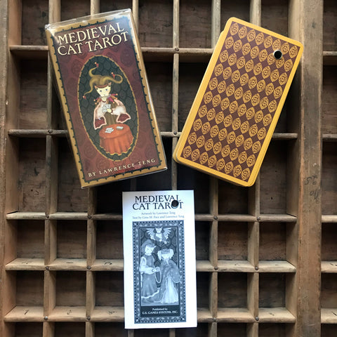 6Witch3 Medieval Cat Tarot, photo of box, backs of cards, and instructional booklet