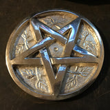 Silver Plated Brass Pentacle / Pentagram Altar Tile