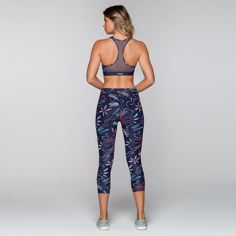 Flower Knee Length Sports Leggings
