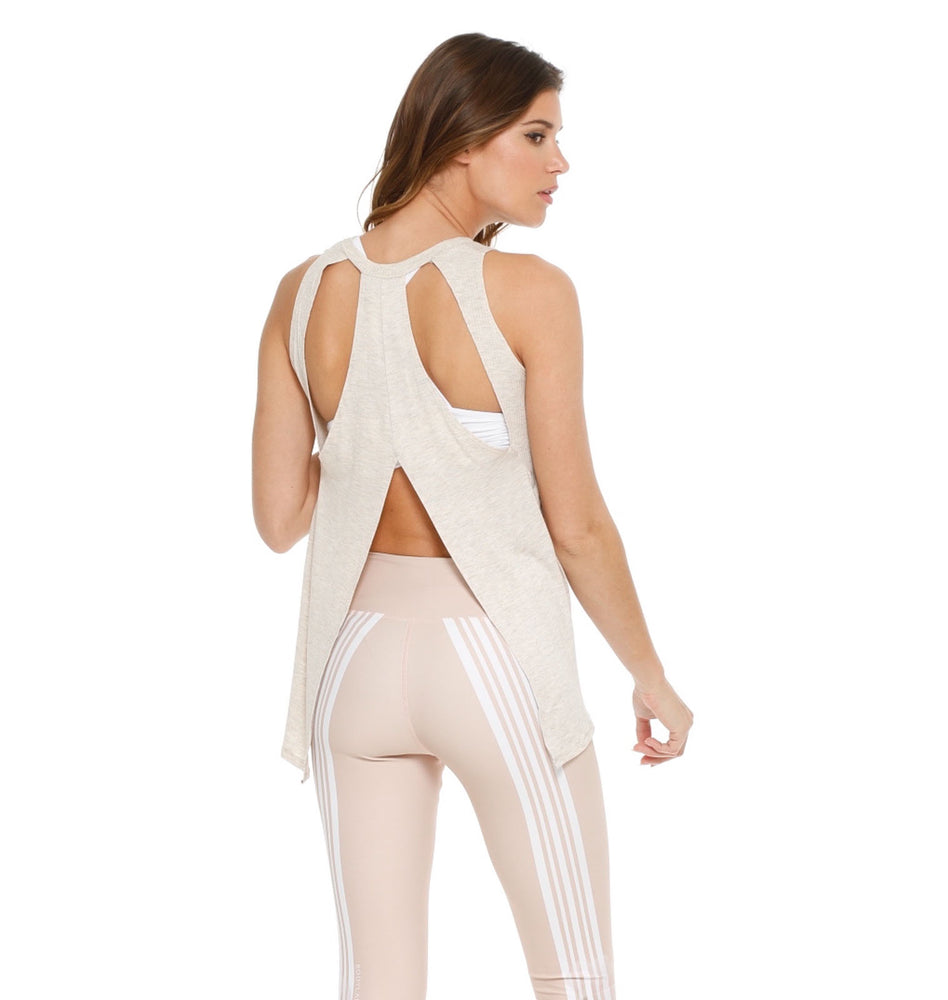 Cream tank with back cut-outs for women