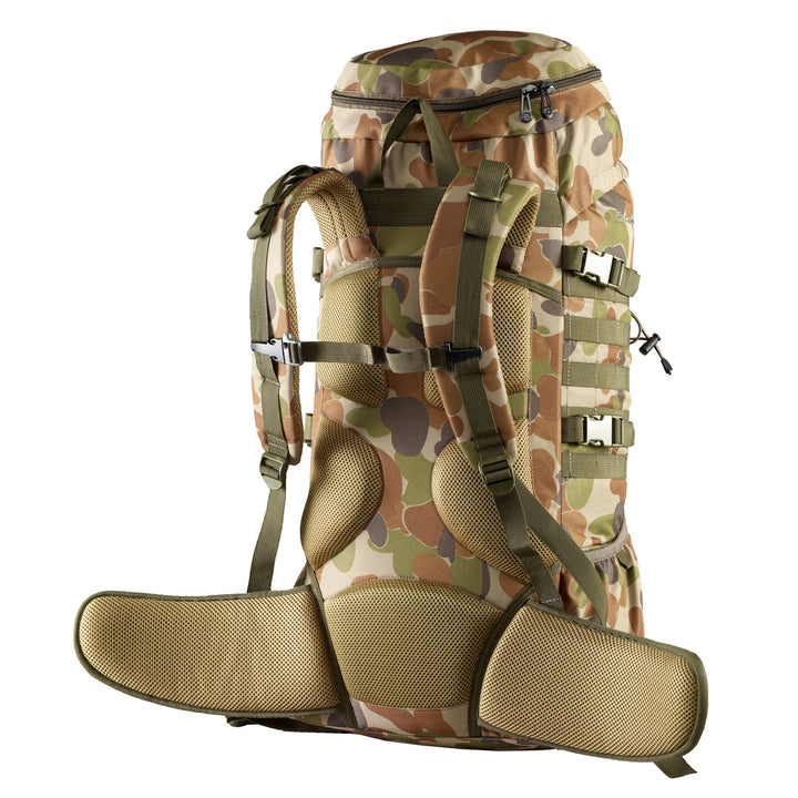 Caribee Cadet 65L rucksack in Auscam harness