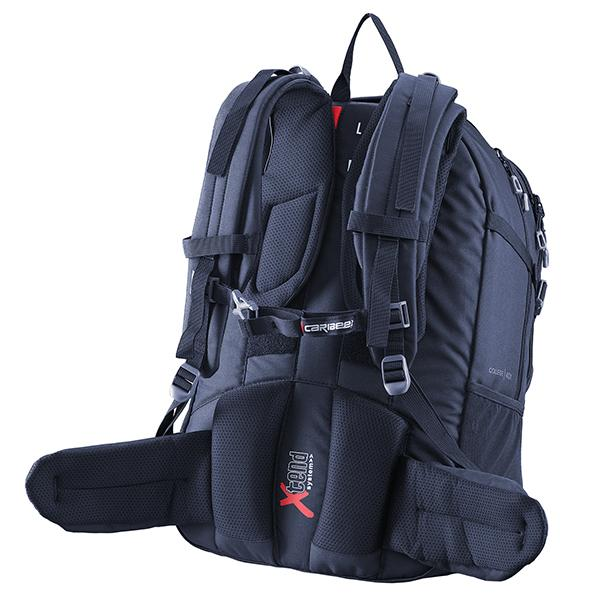 Caribee College 40L backpack's adjustable harness system