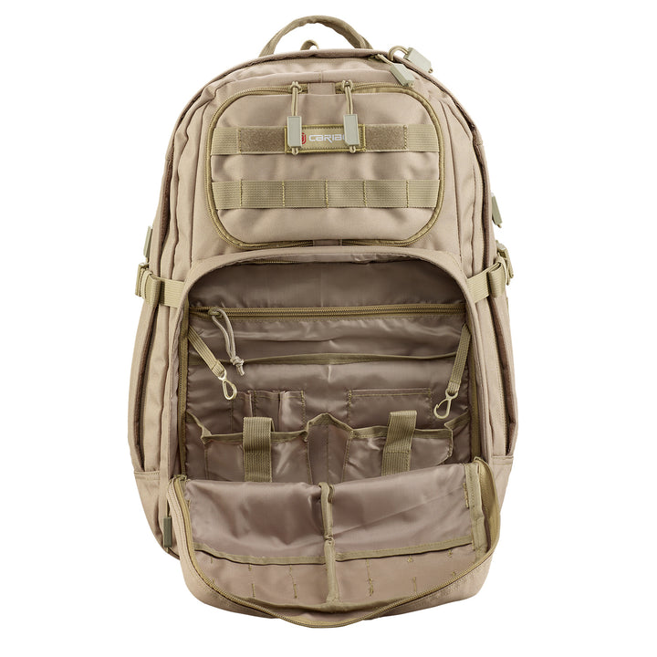 Caribee Combat 32L backpack sand front pocket