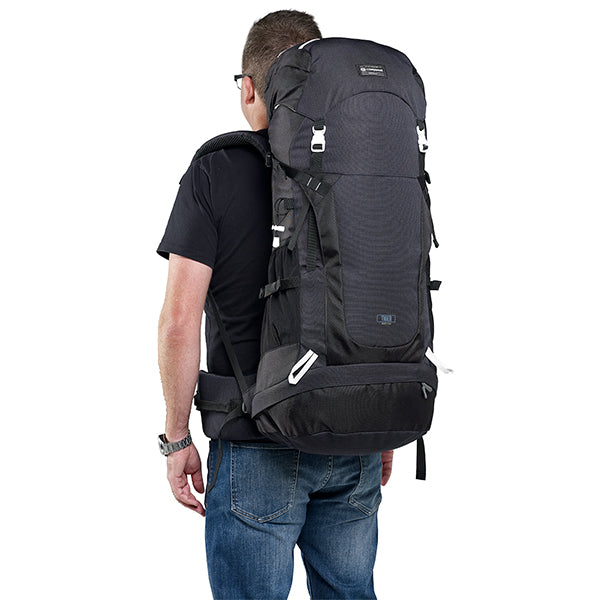 Caribee Frontier 65L Rucksack Black on model