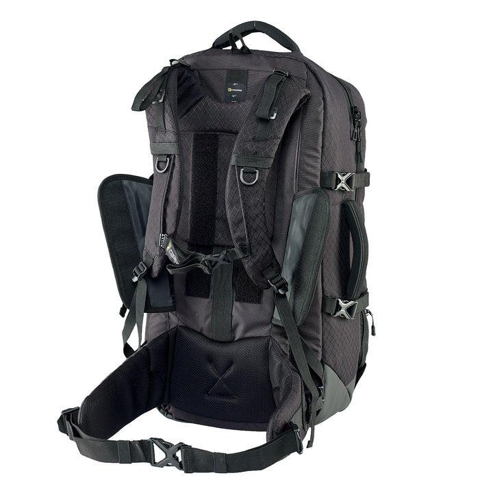 Caribee Intercity 65L travel backpack black harness adjustment 2