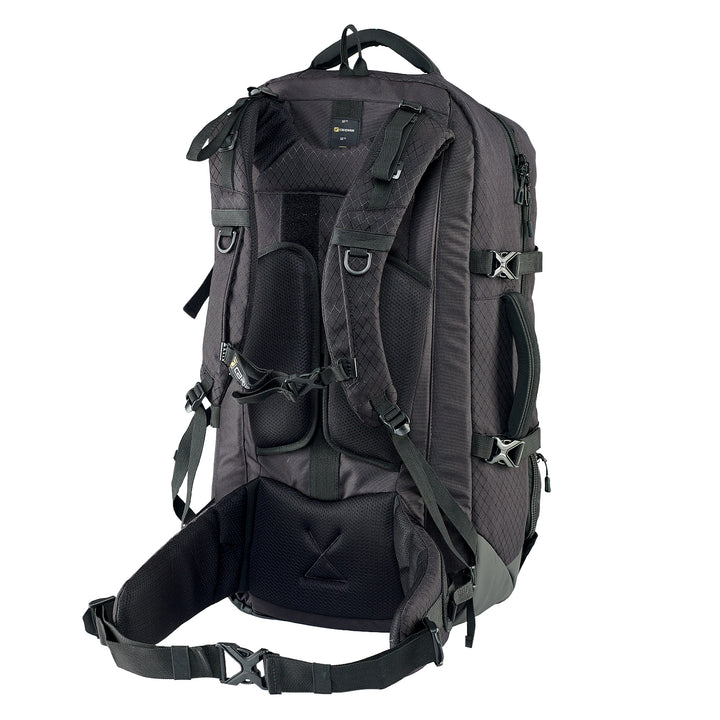 Caribee Intercity 65L travel backpack black harness adjustment 3