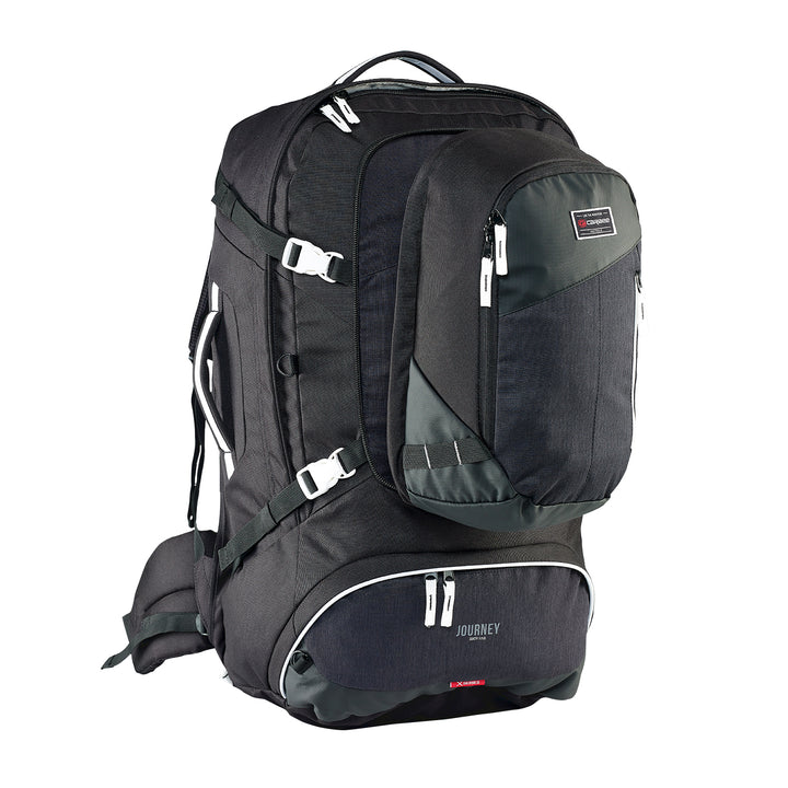 Caribee Journey 75L travel pack black zip off daypack