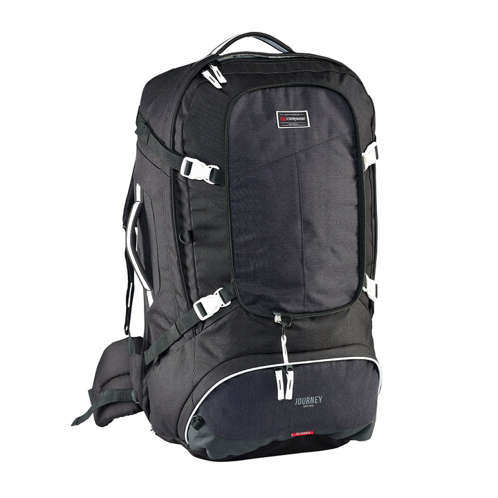 Caribee Journey 65L travel pack black front with no daypack