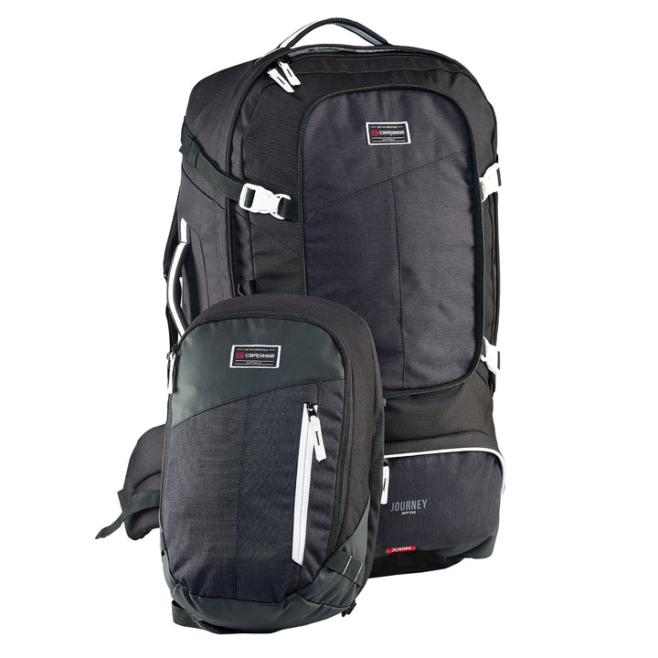 Caribee Journey 75L travel pack black front with daypack removed