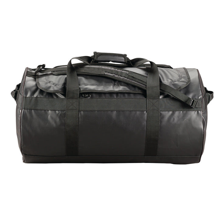 Caribee Kokoda 65L tarpaulin barrel bag black side view