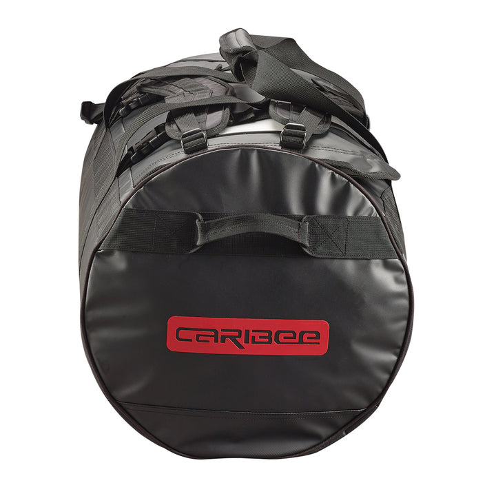 Caribee Kokoda 65L tarpaulin barrel bag black end view