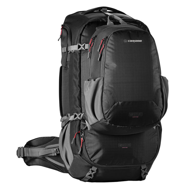 Caribee Magellan 65L travel backpack black