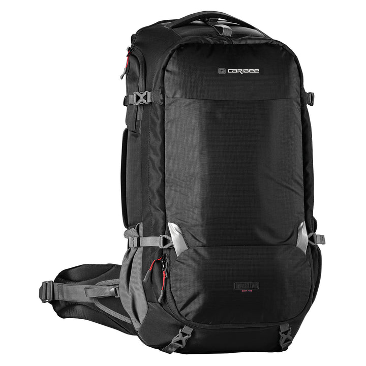 Caribee Magellan 75L travel backpack black with no daypack