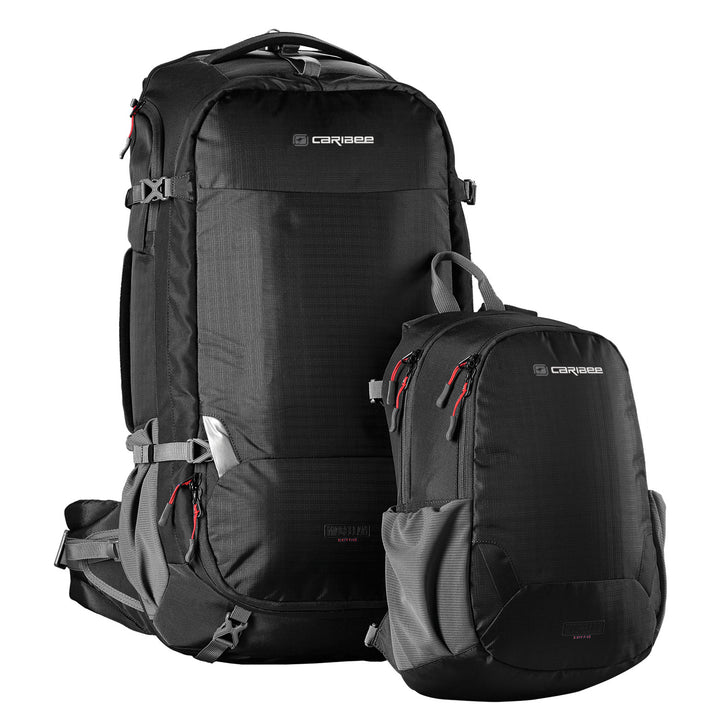 Caribee Magellan 75L travel backpack black with daypack detached
