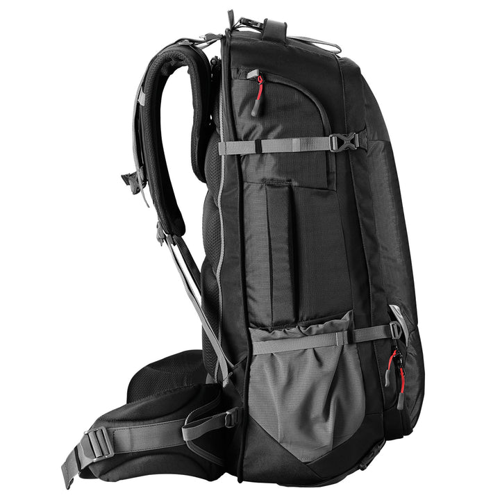 Caribee Magellan 75L travel backpack black side view no daypack