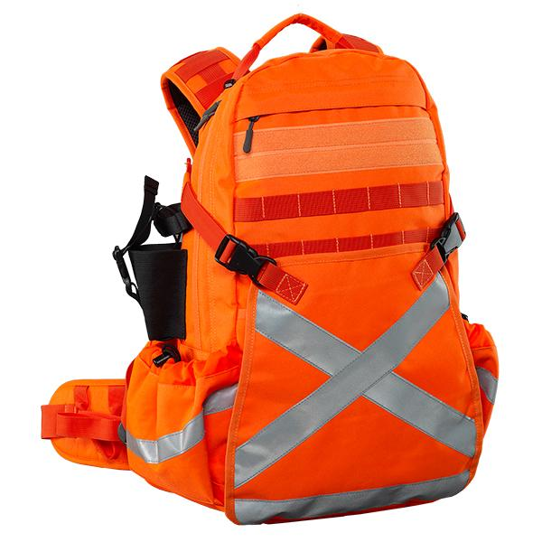 Caribee Mineral King 32L high visibility orange backpack with reflective tape
