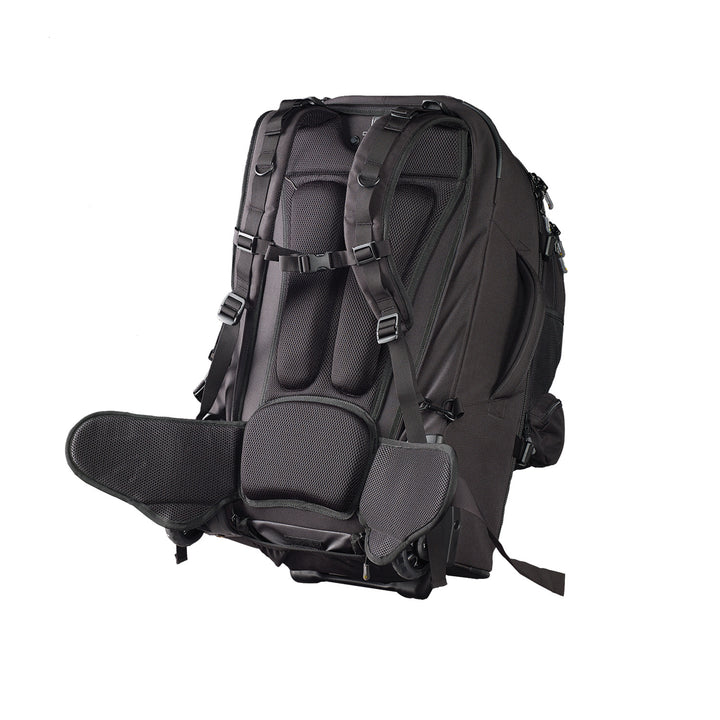 Caribee Sky Master 80L wheel travel backpack harness system