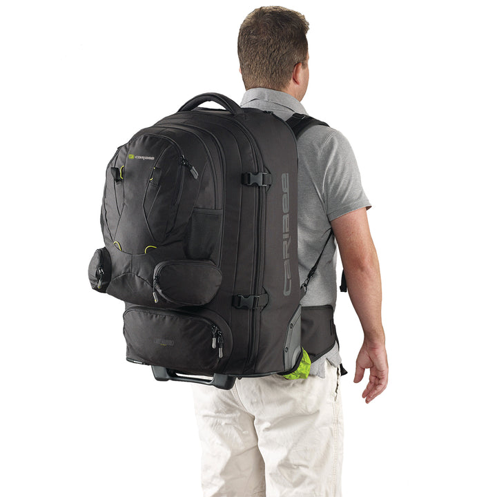 Caribee Sky Master 70L wheel travel backpack on model