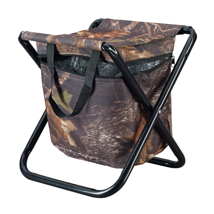 Caribee Camp stool in camo with cooler