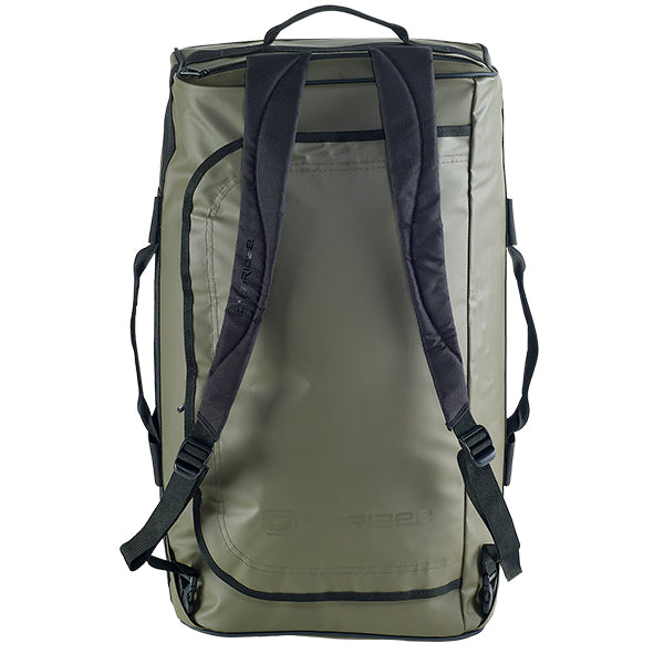 Caribee Titan 50L Gear Bag Olive with shoulder straps upright
