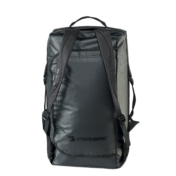Caribee Titan 50L Gear Bag Black with shoulder straps upright