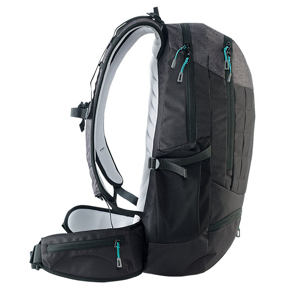 Caribee Triple Peak 34 backpack black side profile