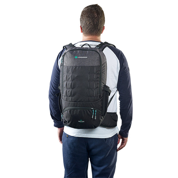 Caribee Triple Peak 34 backpack black on model