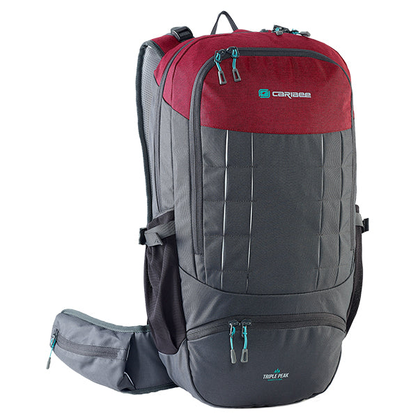 Caribee Triple Peak 34 backpack merlot red
