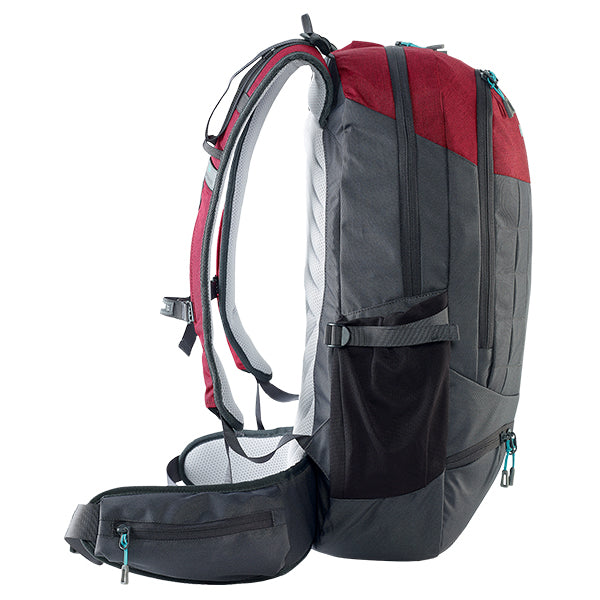 Caribee Triple Peak 34 backpack merlot red side profile