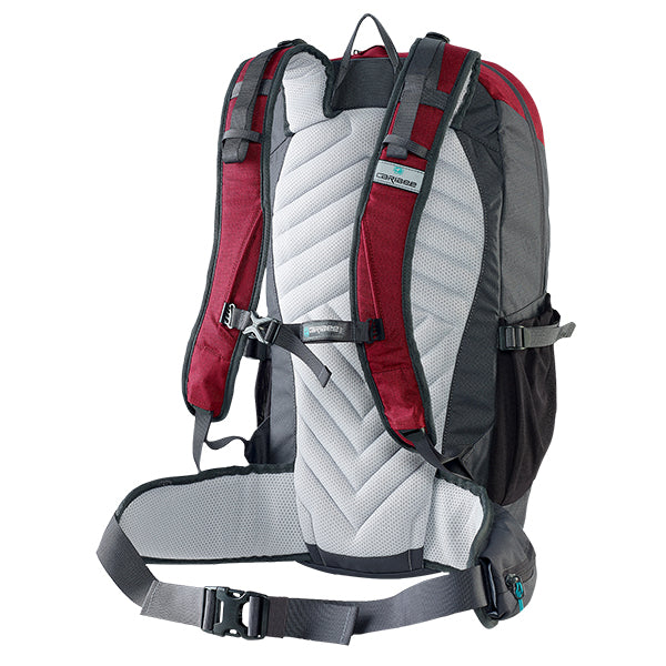 Caribee Triple Peak 34 backpack merlot red back system