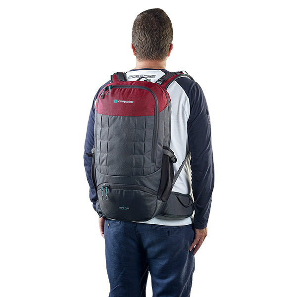 Caribee Triple Peak 34 backpack merlot red on model