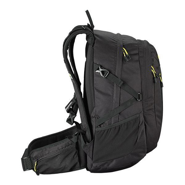 Caribee Valor backpack in black side profile