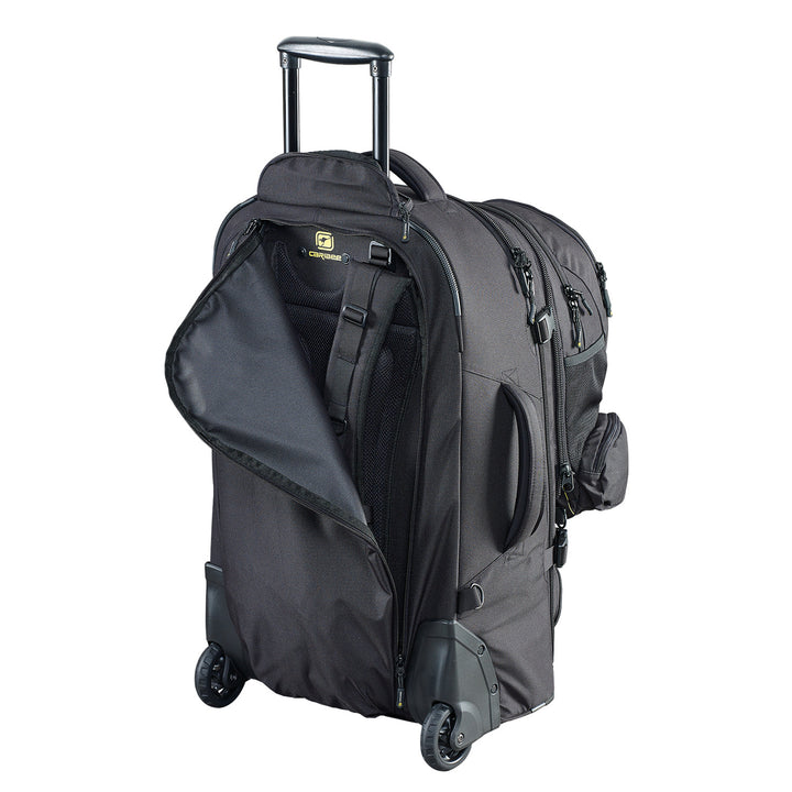 Caribee Sky Master 80L wheel travel backpack concealable harness system