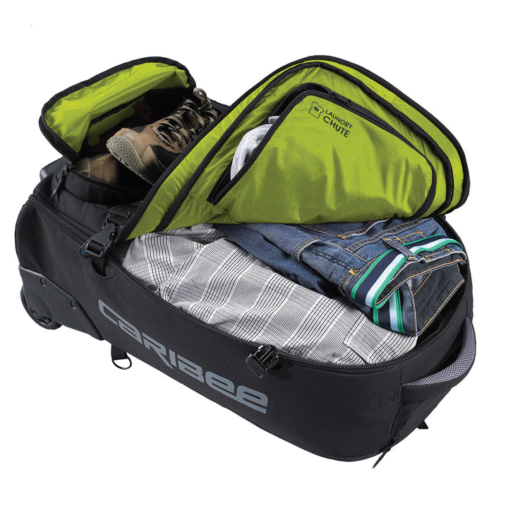 Caribee Sky Master 70L wheel travel backpack open