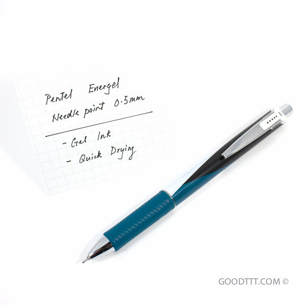 Pentel Energel Gel Pen - Needlepoint 0.5mm Black ink (Limited Edition Teal Origami Body)