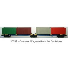Frateschi HO Freight Wagon  2 Container Wagons on Shared Bogie 2075AN