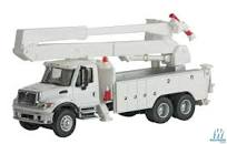 SceneMaster HO International 7600 Utility Truck with Bucket Lift white
