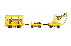Spectrum HO Maintenance of way vehicles Speeder with work crane and cart