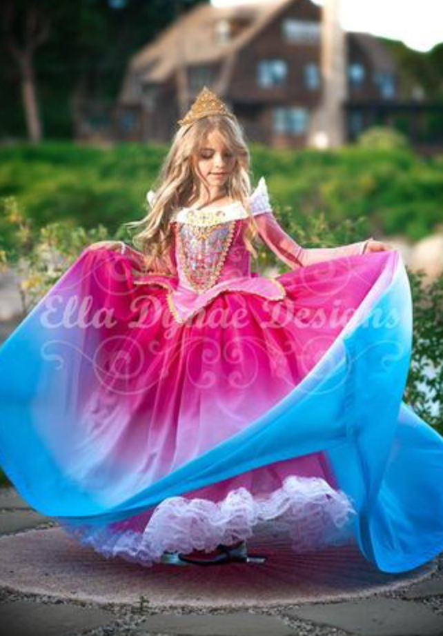 Aurora pink/blue ombre dress rental - Size 6/8