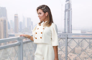 Enjoying the Skyline view in Dubai wearing one of my designs