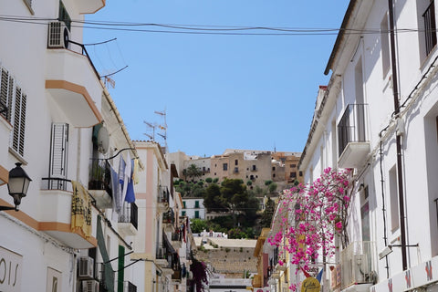 Streets of Ibiza white color and pink flowers
