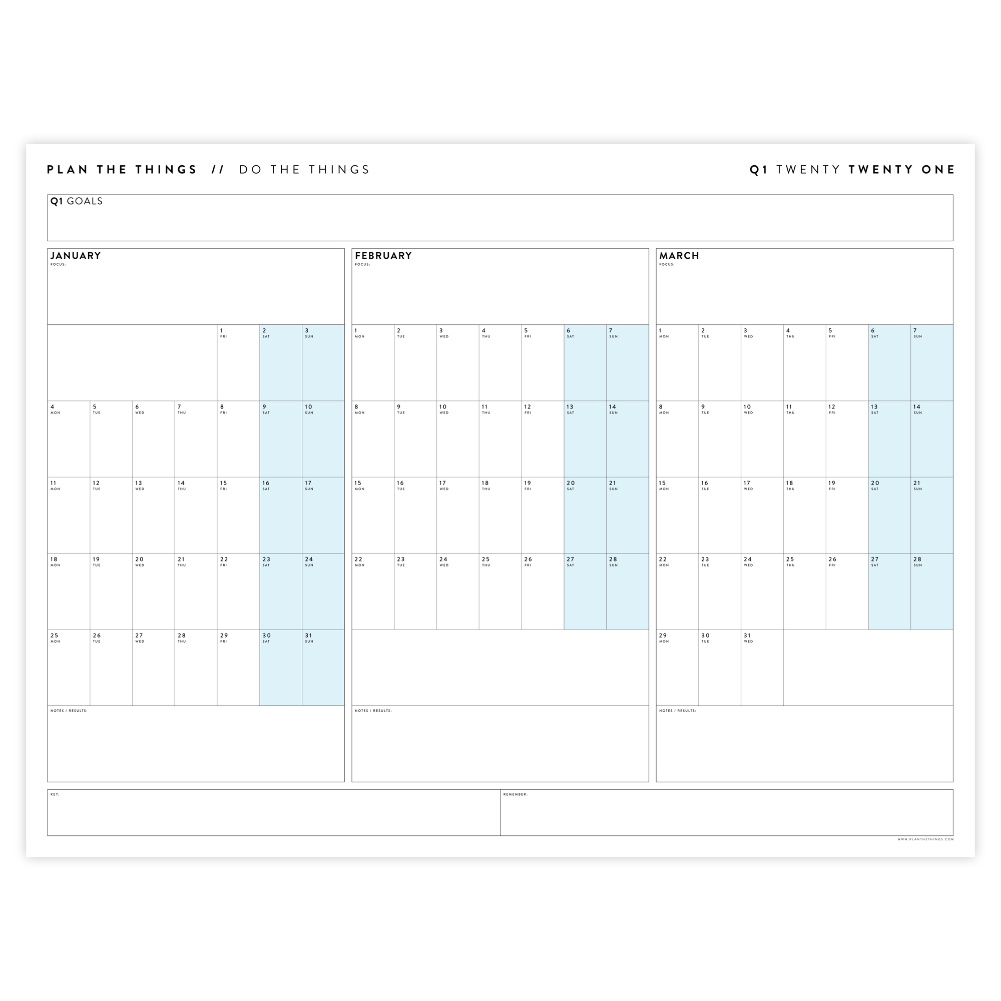 2021 QUARTERLY WALL CALENDAR SET - HORIZONTAL WITH BLUE WEEKENDS