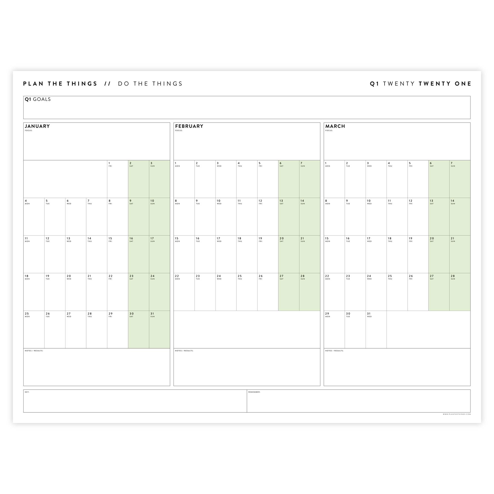 2021 QUARTERLY WALL CALENDAR SET - HORIZONTAL WITH GREEN WEEKENDS