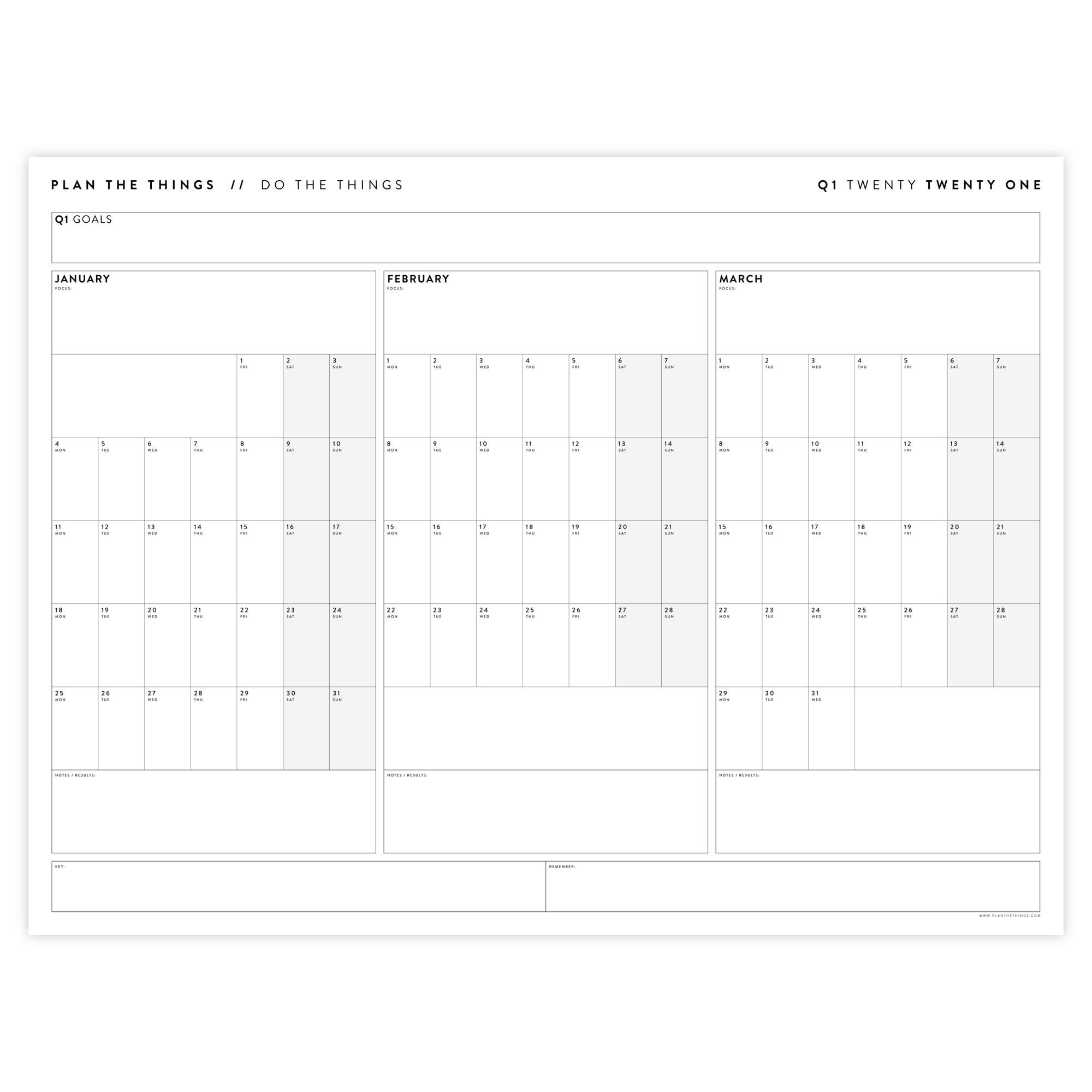 2021 QUARTERLY WALL CALENDAR SET - HORIZONTAL WITH GREY WEEKENDS