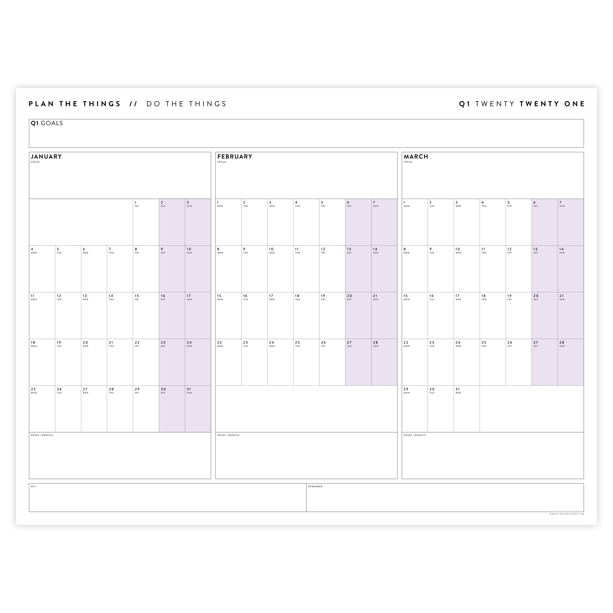 2021 QUARTERLY WALL CALENDAR SET - HORIZONTAL WITH PURPLE WEEKENDS