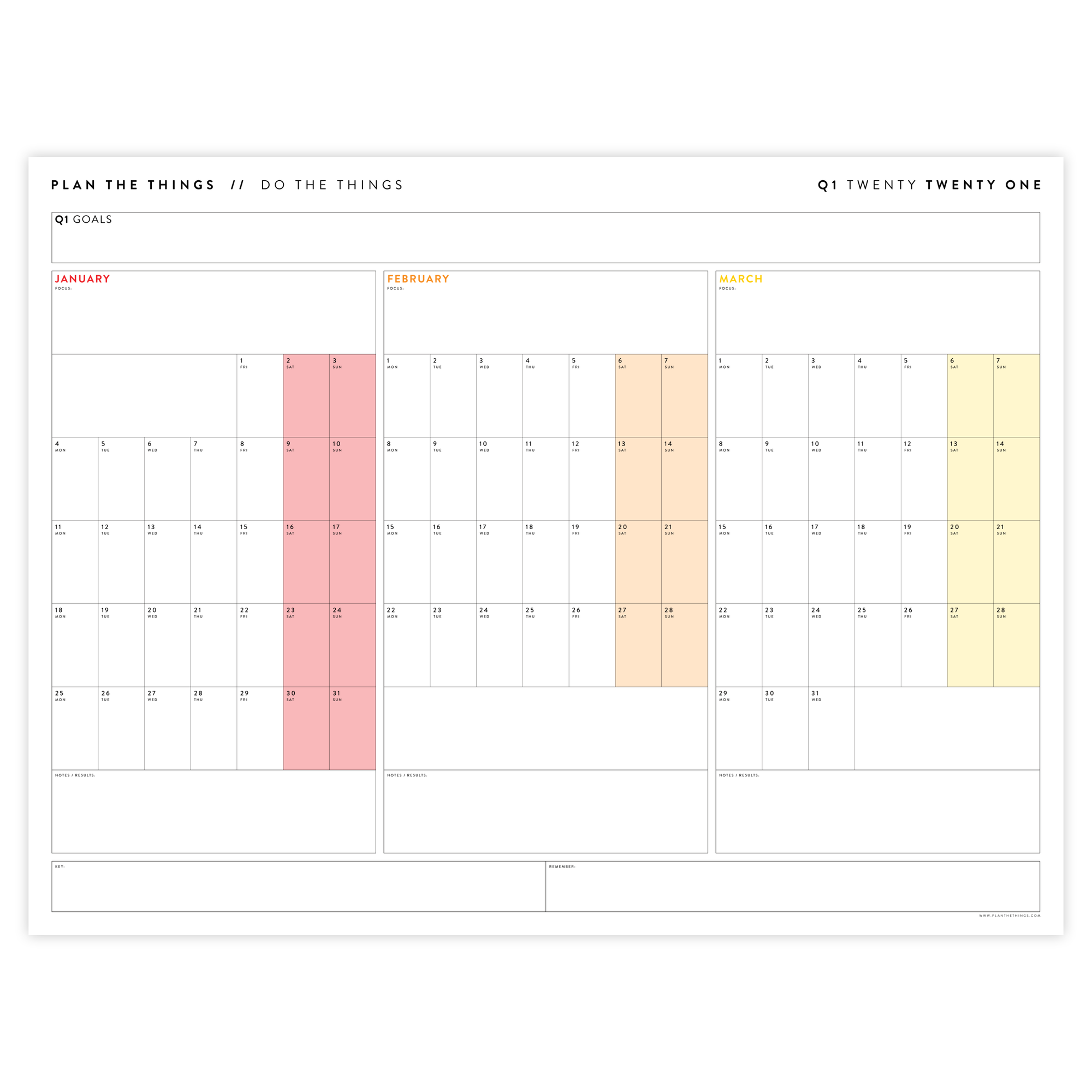 2021 QUARTERLY WALL CALENDAR SET - HORIZONTAL WITH RAINBOW WEEKENDS