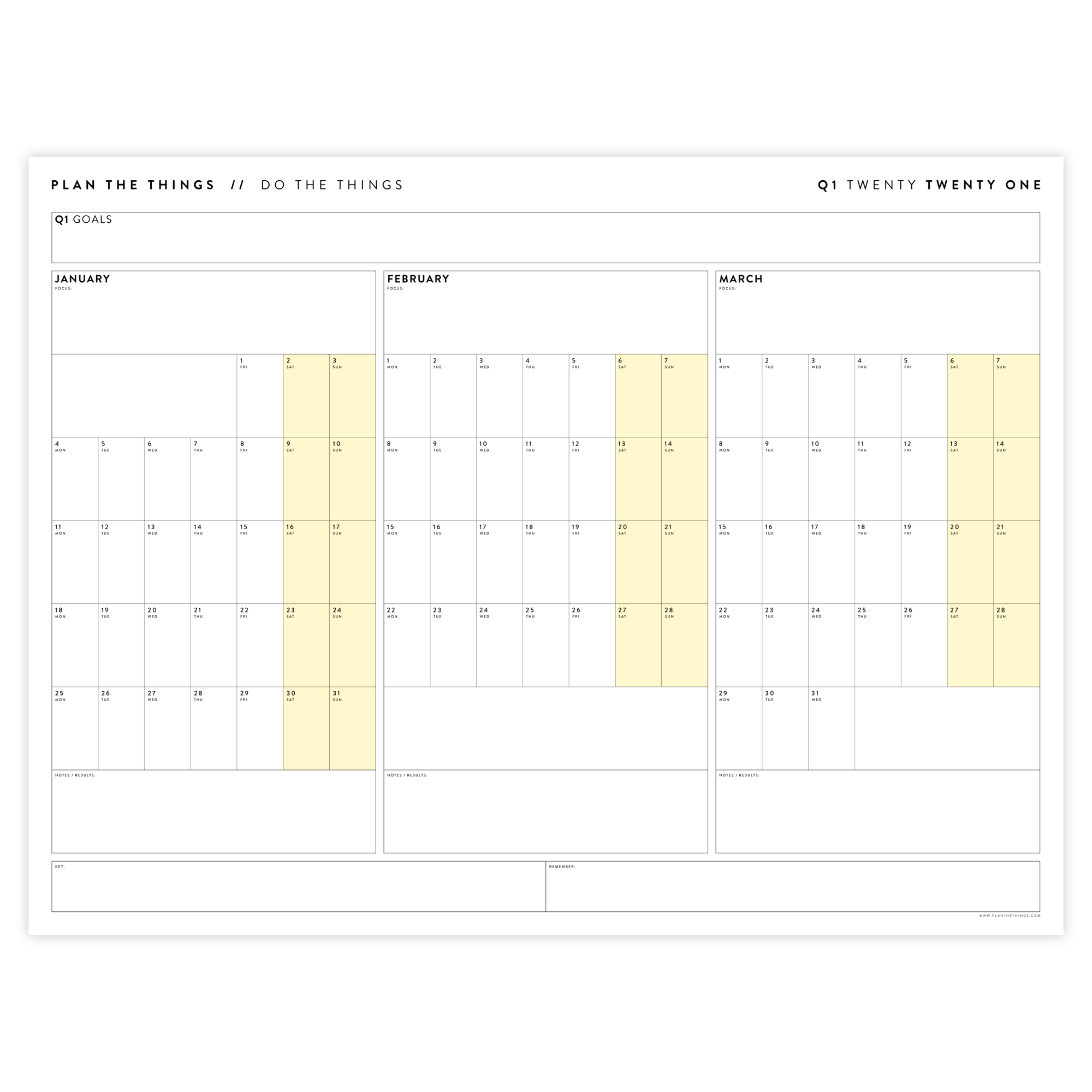 2021 QUARTERLY WALL CALENDAR SET - HORIZONTAL WITH YELLOW WEEKENDS