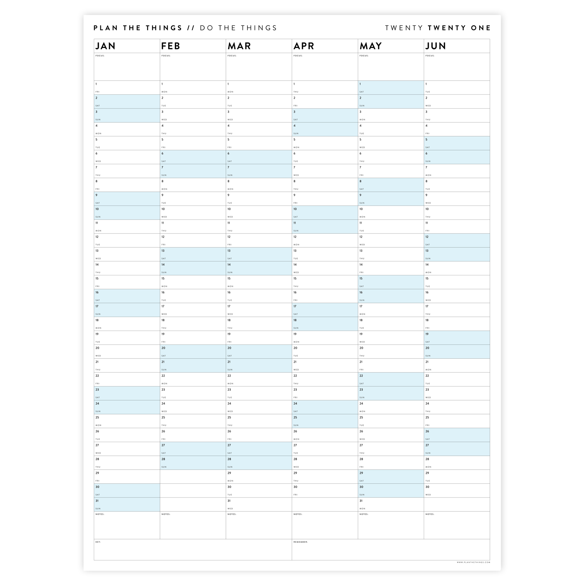 SIX MONTH 2021 WALL CALENDAR (JANUARY TO JUNE) WITH BLUE WEEKENDS