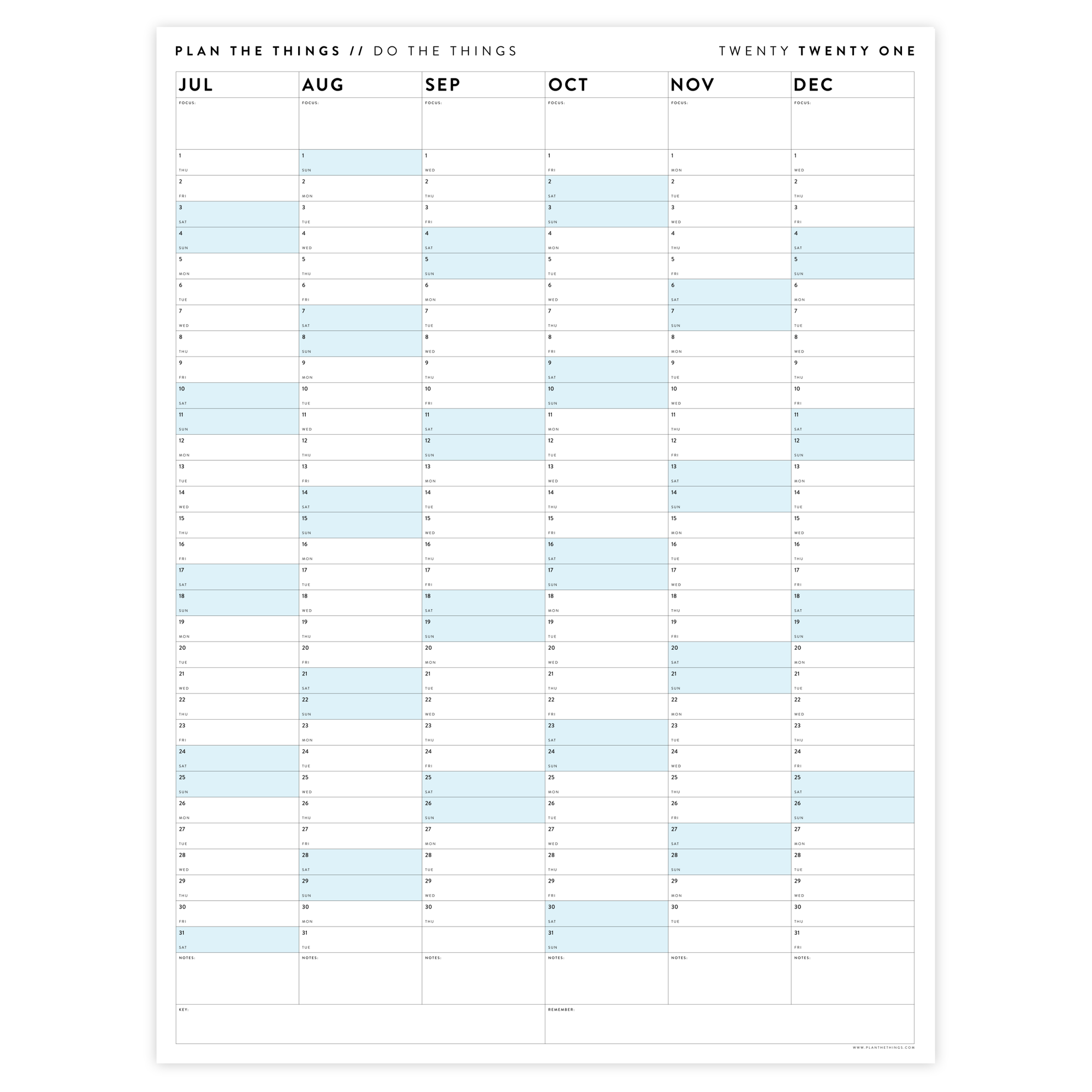 SIX MONTH 2021 WALL CALENDAR (JULY TO DECEMBER) WITH BLUE WEEKENDS